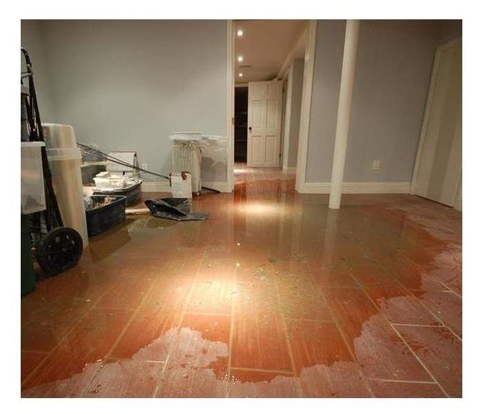 Residential Finished Basement with flooded floor