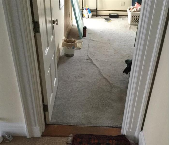 View through doorway into room with water damaged carpet