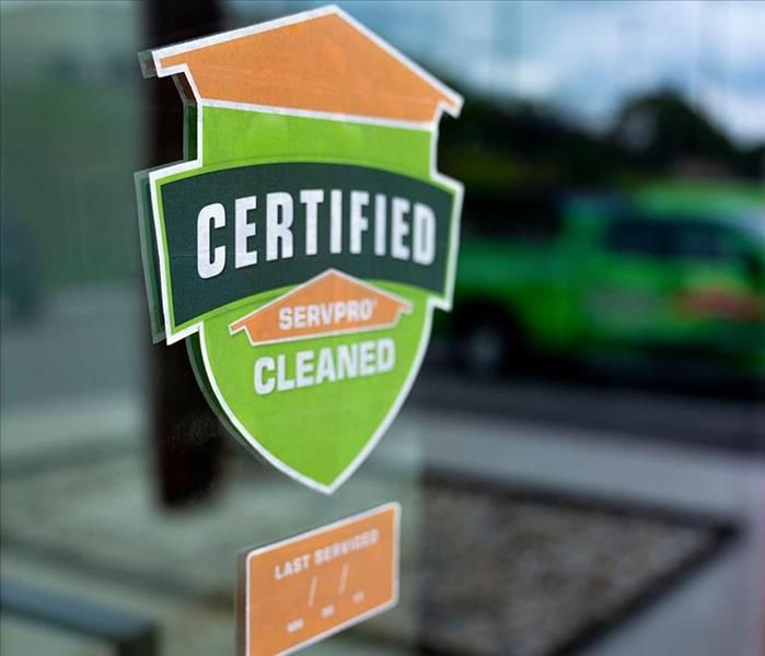 Certified SERVPRO Clean Decal on a window