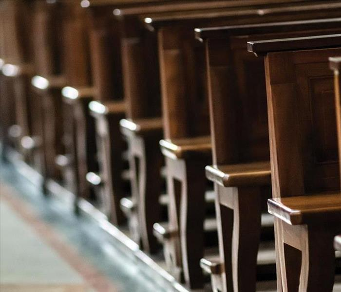 Close up view of church pews
